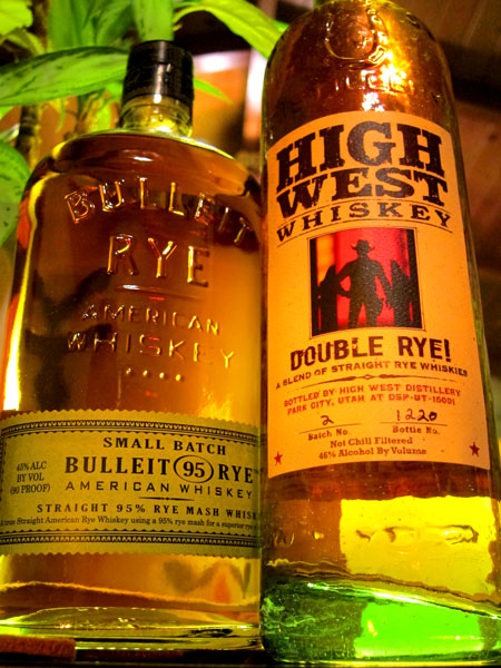 Bulleit Rye and High West Double Rye Bottles